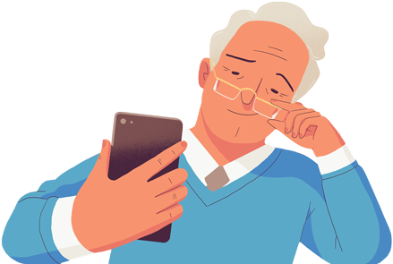 Old man with his phone